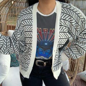 Vintage Boho Tribal Baggy Sweater Cardigan SZ M